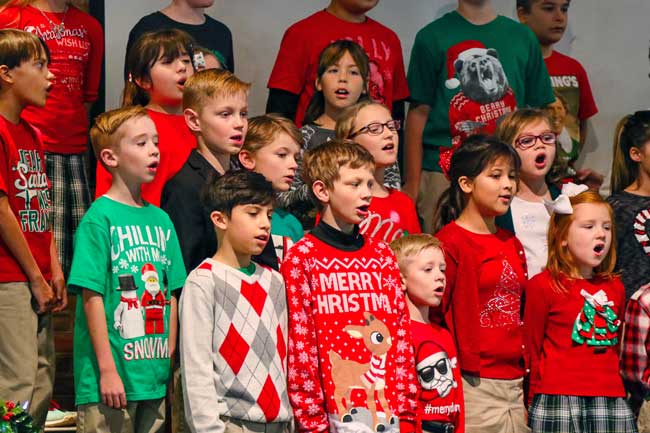 Elementary kids performing Christmas Musical