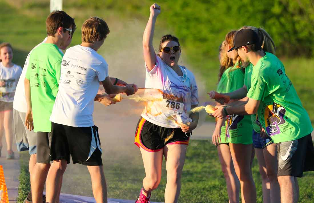 Running through the Calvary Challenge Color Run