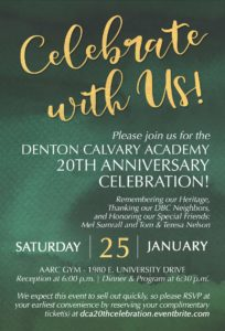 20th Anniversary Celebration Invitation for Denton Calvary Academy